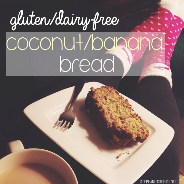 Gluten and Dairy Free Coconut/banana bread // stephanieorefice.net