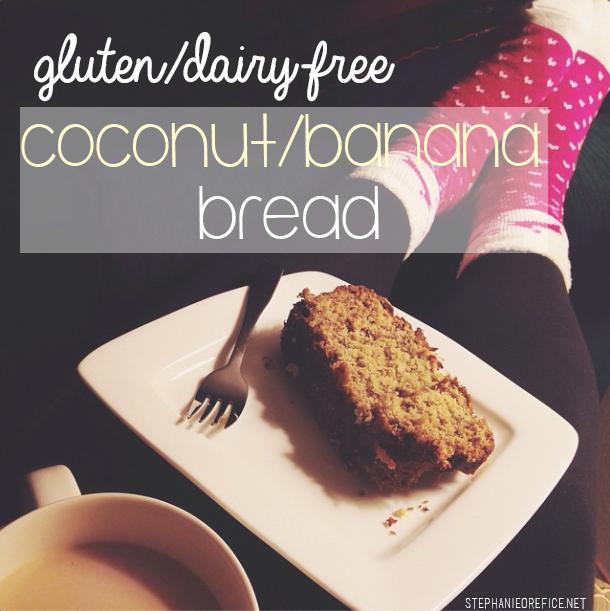 Gluten and Dairy Free Coconut/banana bread // stephanieorefice.net